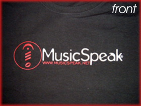 MusicSpeak CD MP3 Streaming on sale free shipping Music Speak special offer t shirts stickers and other Music speak merchandise let the music speak music speaks